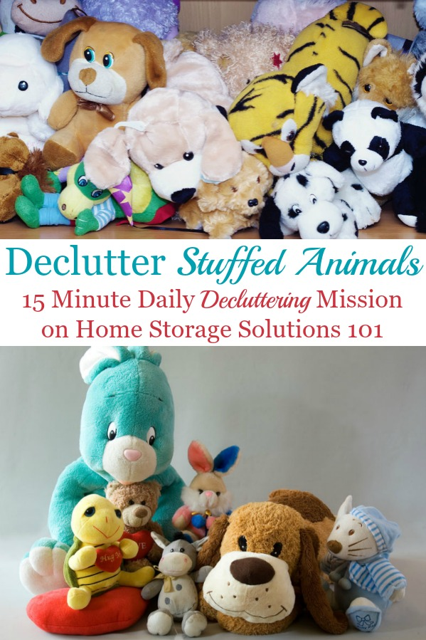 How to declutter stuffed animals, with practical tips for how many to keep, how to get your kids on board, and how to stop accumulating so many in the future {a #Declutter365 mission on Home Storage Solutions 101} #DeclutterStuffedAnimals #StuffedAnimalStorage #ToyClutter