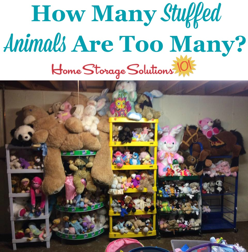 Tips for decluttering stuffed animals, including how to identify how many stuffed animals are too many {on Home Storage Solutions 101}