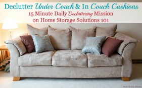 declutter under couch and in between couch cushions mission