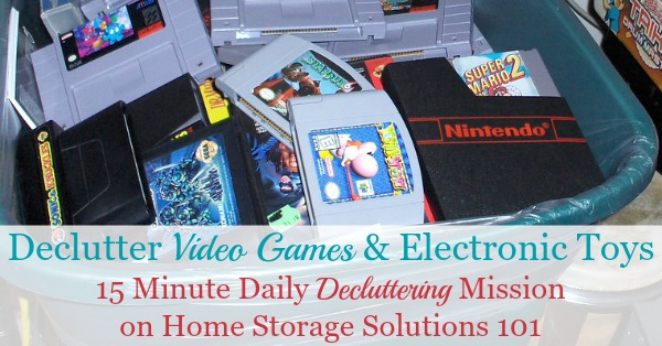 Here is how to declutter video games and electronic toy clutter from your home, so you and the kids can enjoy some of these electronics without being inundated with too much toy clutter {on Home Storage Solutions 101}