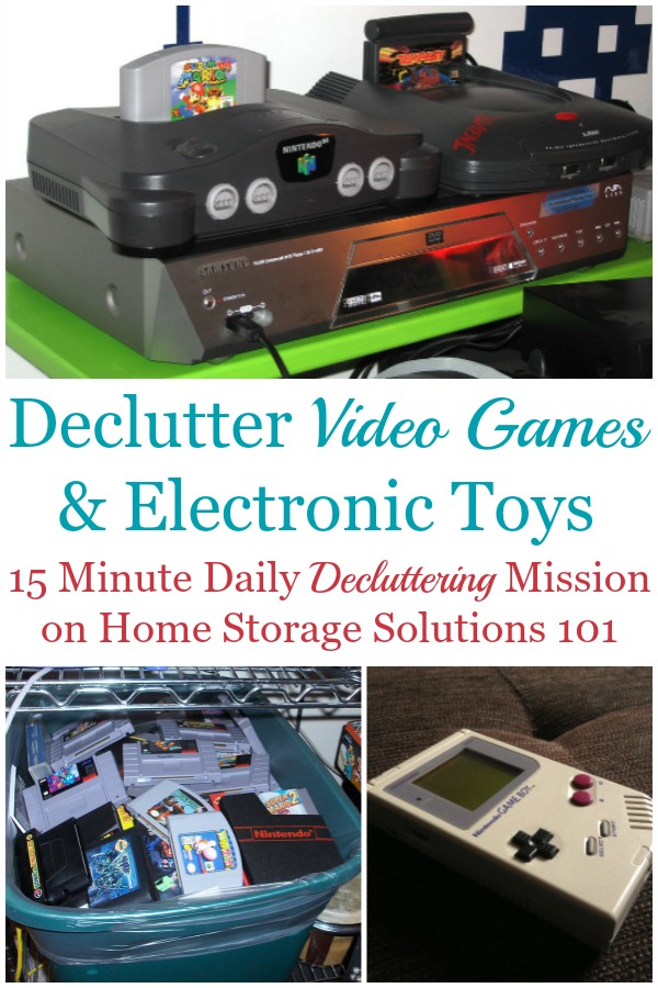 Here is how to declutter video games and electronic toy clutter from your home, so you and the kids can enjoy some of these electronics without being inundated with too much toy clutter {on Home Storage Solutions 101} #DeclutterVideoGames #ToyClutter #DeclutterGames