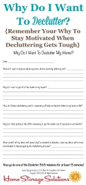 Why do I want to declutter? worksheet