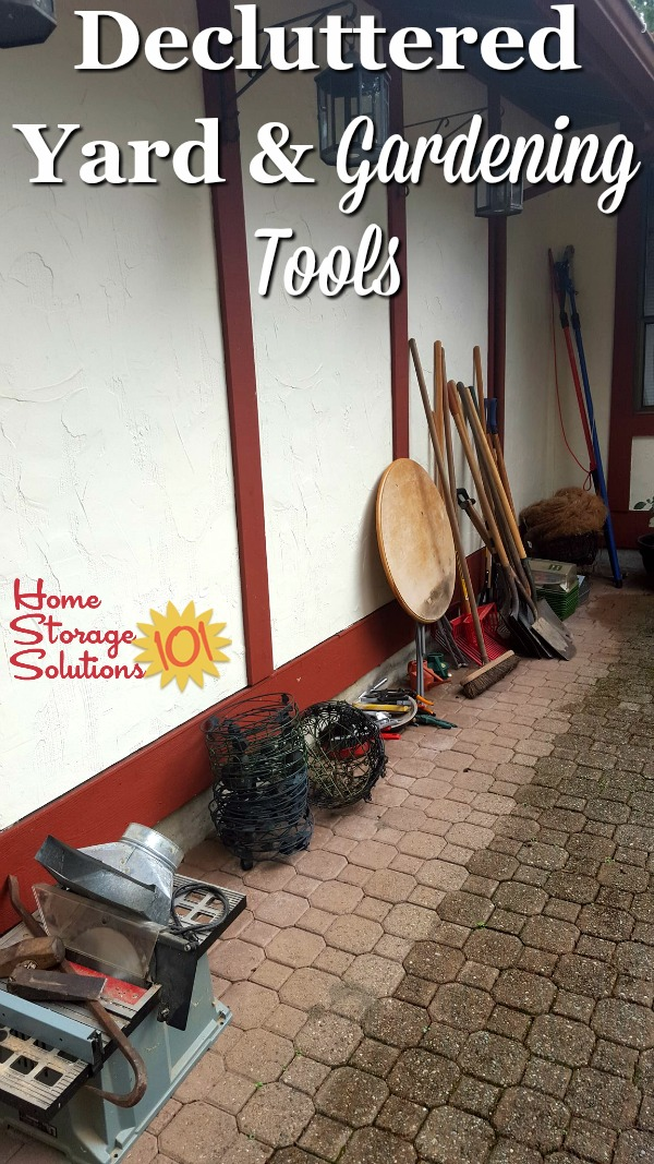 Decluttered yard and gardening tools, from the garden shed {part of the #Declutter365 missions on Home Storage Solutions 101}