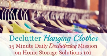 Declutter hanging clothes mission on Home Storage Solutions 101