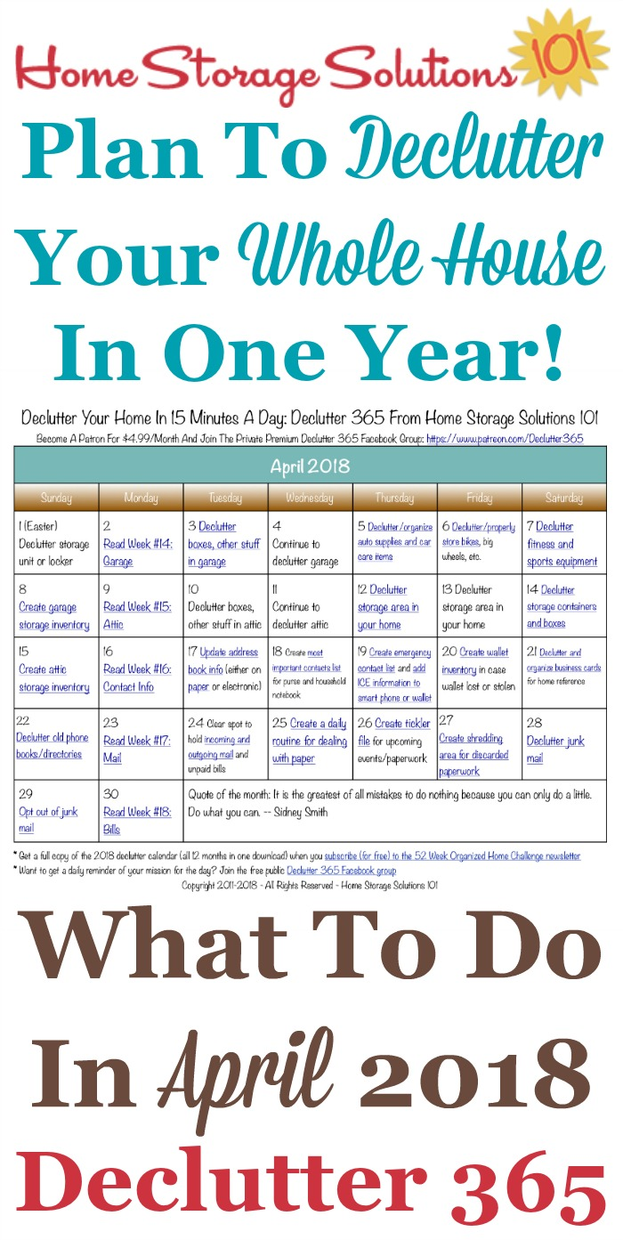 Free printable April 2018 #decluttering calendar with daily 15 minute missions. Follow the entire #Declutter365 plan provided by Home Storage Solutions 101 to #declutter your whole house in a year.