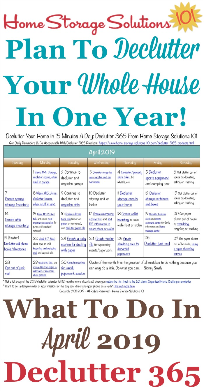 Free printable April 2019 #decluttering calendar with daily 15 minute missions. Follow the entire #Declutter365 plan provided by Home Storage Solutions 101 to #declutter your whole house in a year.
