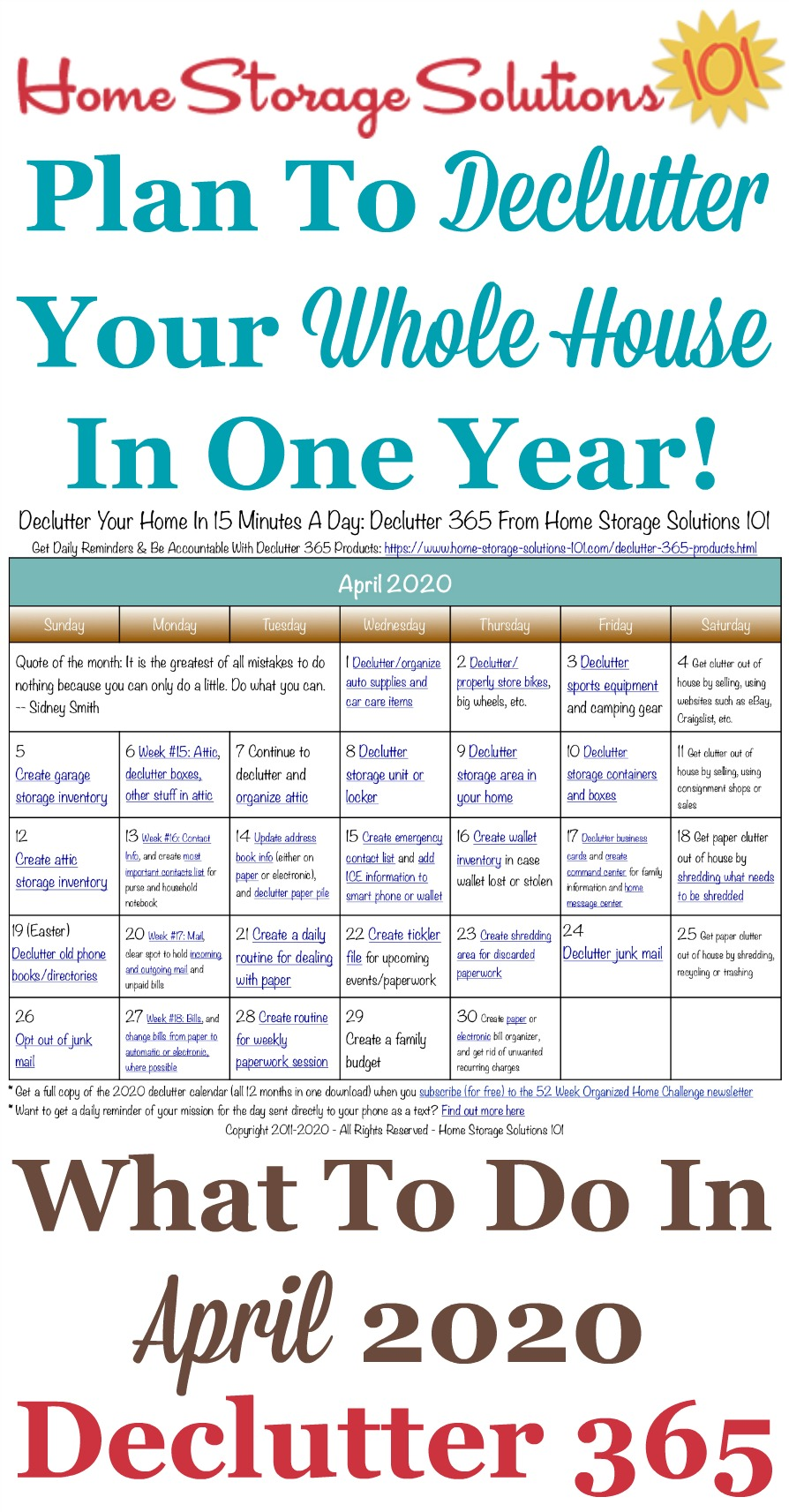 Free printable April 2020 #decluttering calendar with daily 15 minute missions. Follow the entire #Declutter365 plan provided by Home Storage Solutions 101 to #declutter your whole house in a year.