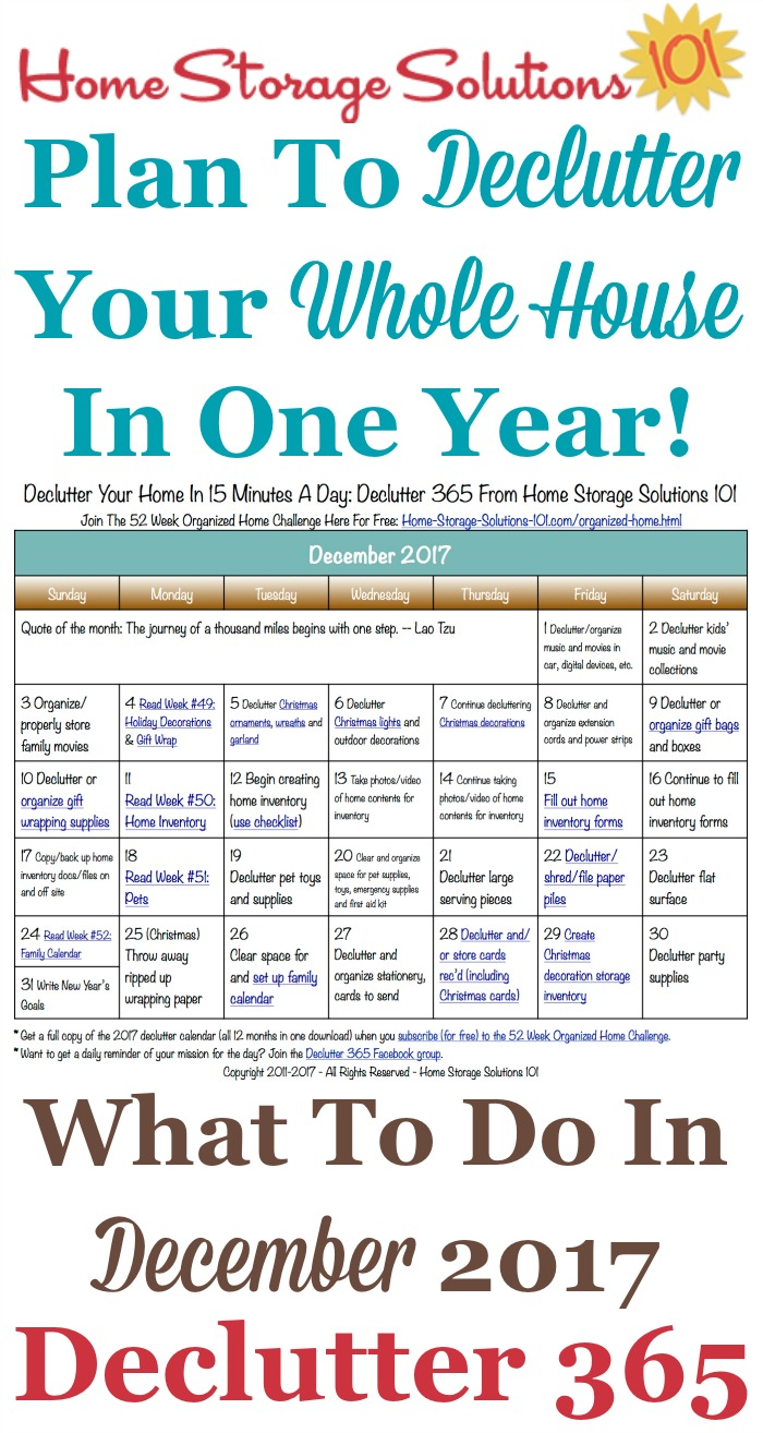 Free printable December 2017 #decluttering calendar with daily 15 minute missions. Follow the entire #Declutter365 plan provided by Home Storage Solutions 101 to #declutter your whole house in a year.