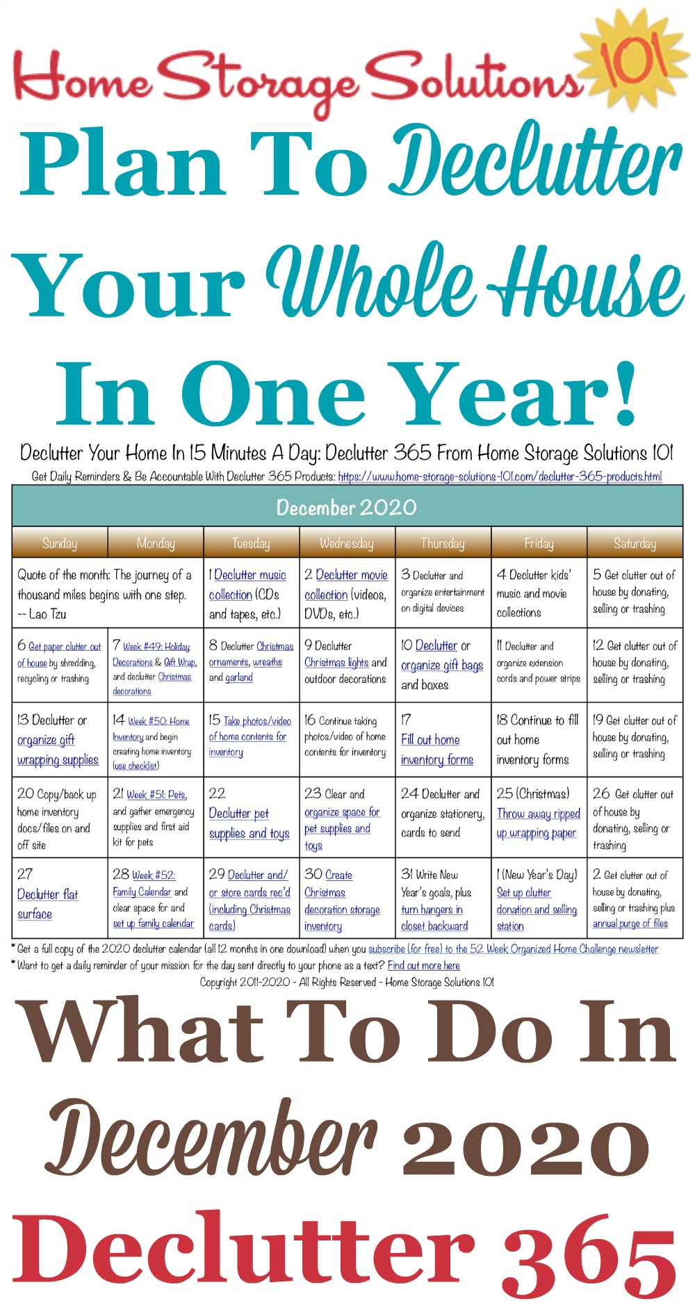 Free printable December 2020 #decluttering calendar with daily 15 minute missions. Follow the entire #Declutter365 plan provided by Home Storage Solutions 101 to #declutter your whole house in a year.