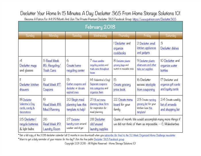 February declutter calendar 15 minute daily missions for for Declutter house plan
