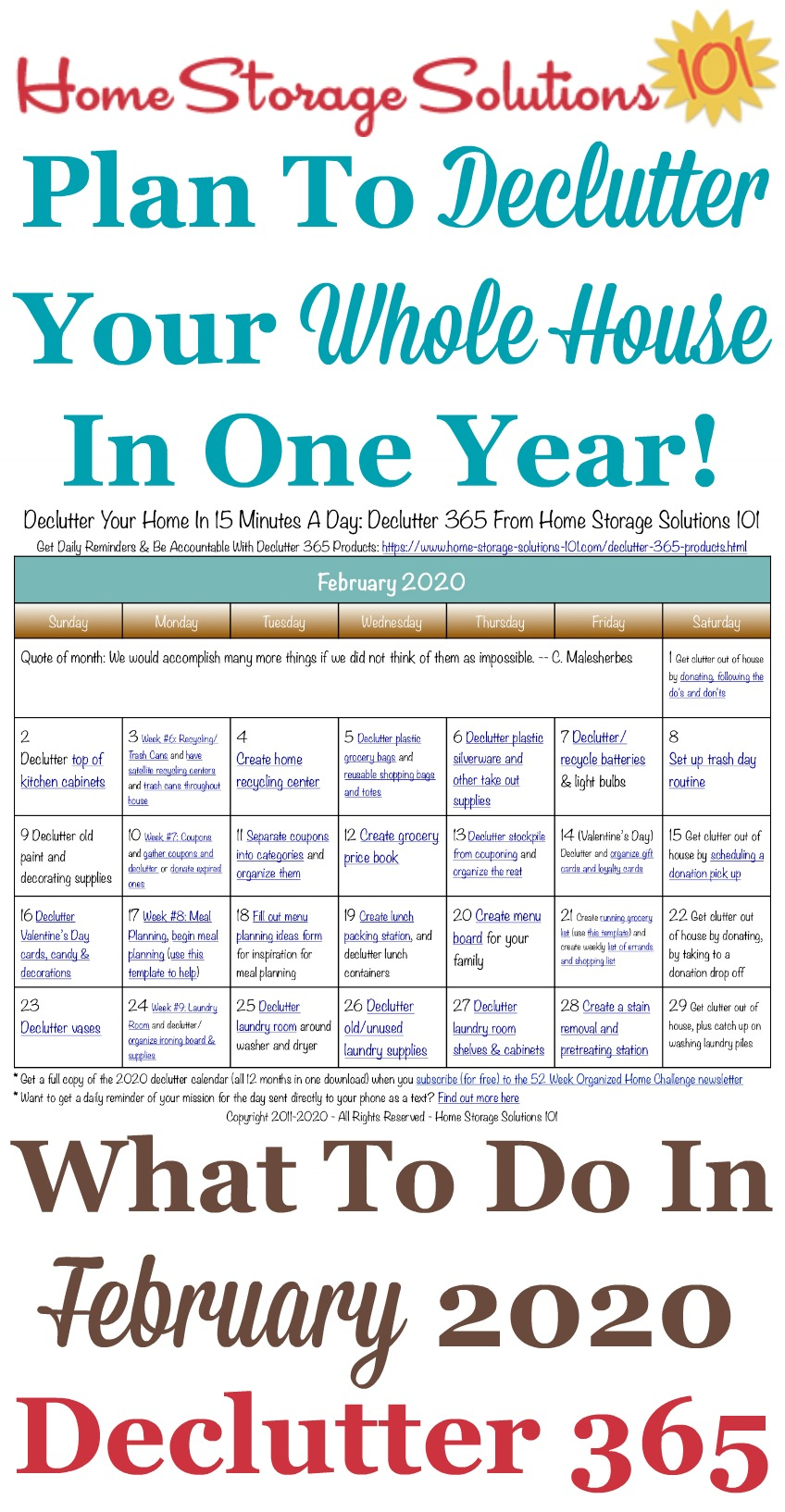 Free printable February 2020 #decluttering calendar with daily 15 minute missions. Follow the entire #Declutter365 plan provided by Home Storage Solutions 101 to #declutter your whole house in a year.