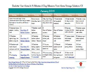 January decluttering calendar