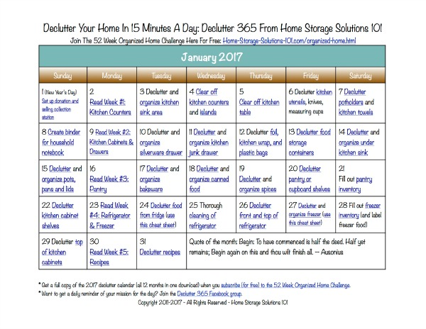 Declutter Your Home january declutter calendar: 15 minute daily missions for month