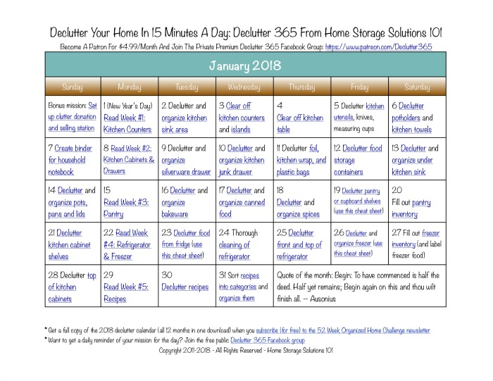 Free printable January 2018 #decluttering calendar with daily 15 minute missions. Follow the entire #Declutter365 plan provided by Home Storage Solutions 101 to #declutter your whole house in a year.
