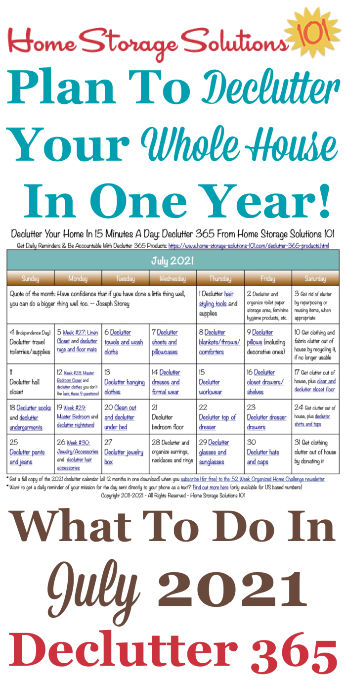 Free printable July 2021 #decluttering calendar with daily 15 minute missions. Follow the entire #Declutter365 plan provided by Home Storage Solutions 101 to #declutter your whole house in a year.