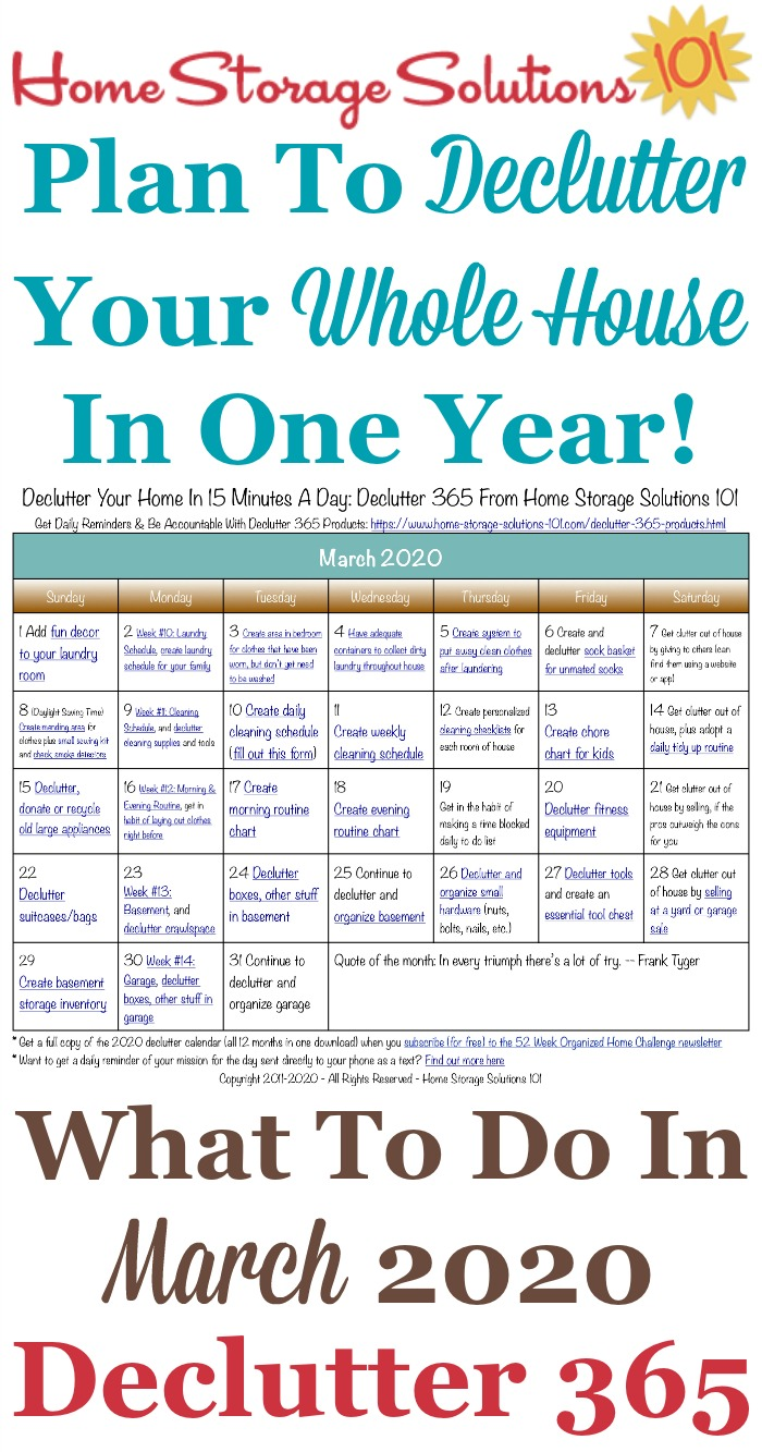 Free printable March 2020 #decluttering calendar with daily 15 minute missions. Follow the entire #Declutter365 plan provided by Home Storage Solutions 101 to #declutter your whole house in a year.