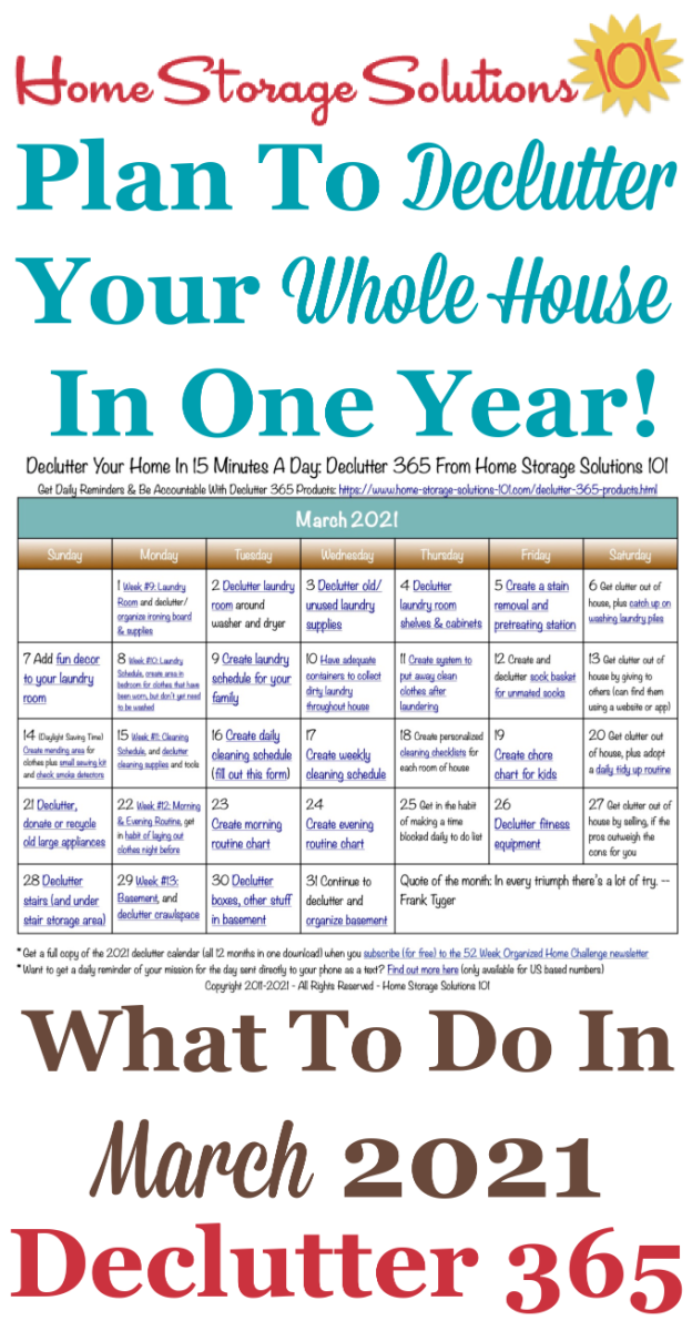 Free printable March 2021 #decluttering calendar with daily 15 minute missions. Follow the entire #Declutter365 plan provided by Home Storage Solutions 101 to #declutter your whole house in a year.