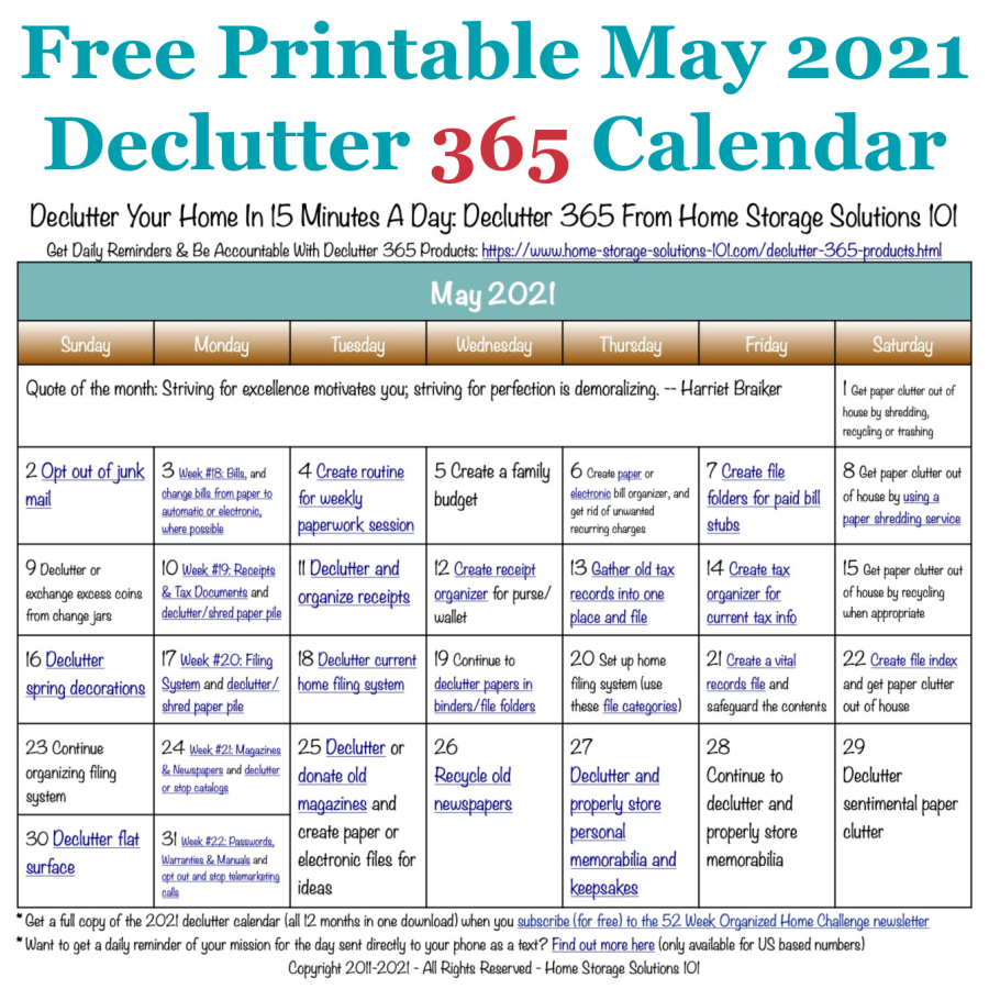 Free printable May 2021 #decluttering calendar with daily 15 minute missions. Follow the entire #Declutter365 plan provided by Home Storage Solutions 101 to #declutter your whole house in a year.