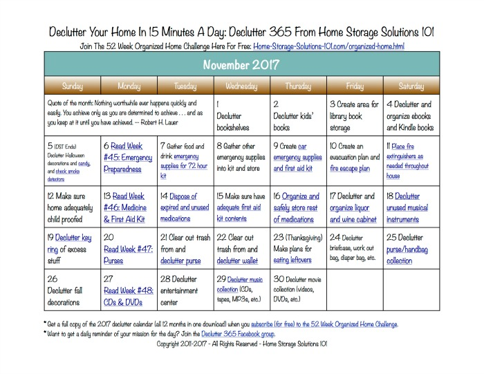 Free printable November 2016 #decluttering calendar with daily 15 minute missions. Follow the entire #Declutter365 plan provided by Home Storage Solutions 101 to #declutter your whole house in a year.