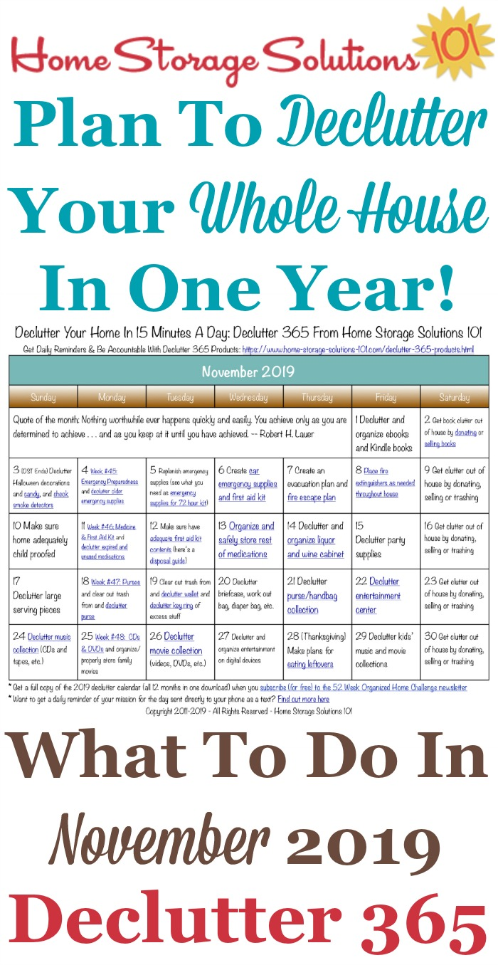 Free printable November 2019 #decluttering calendar with daily 15 minute missions. Follow the entire #Declutter365 plan provided by Home Storage Solutions 101 to #declutter your whole house in a year.