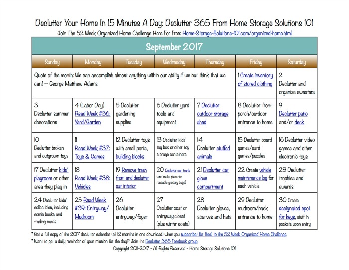 Free printable September 2017 decluttering calendar with daily 15 minute missions. Follow the entire Declutter 365 plan provided by Home Storage Solutions 101 to declutter your whole house in a year.