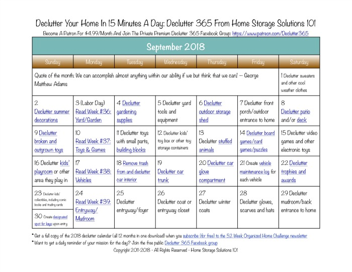 Free printable September 2018 #decluttering calendar with daily 15 minute missions. Follow the entire #Declutter365 plan provided by Home Storage Solutions 101 to #declutter your whole house in a year.