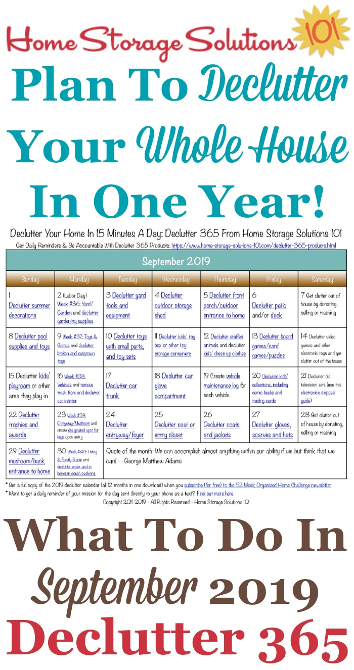 Free printable September 2019 #decluttering calendar with daily 15 minute missions. Follow the entire #Declutter365 plan provided by Home Storage Solutions 101 to #declutter your whole house in a year.