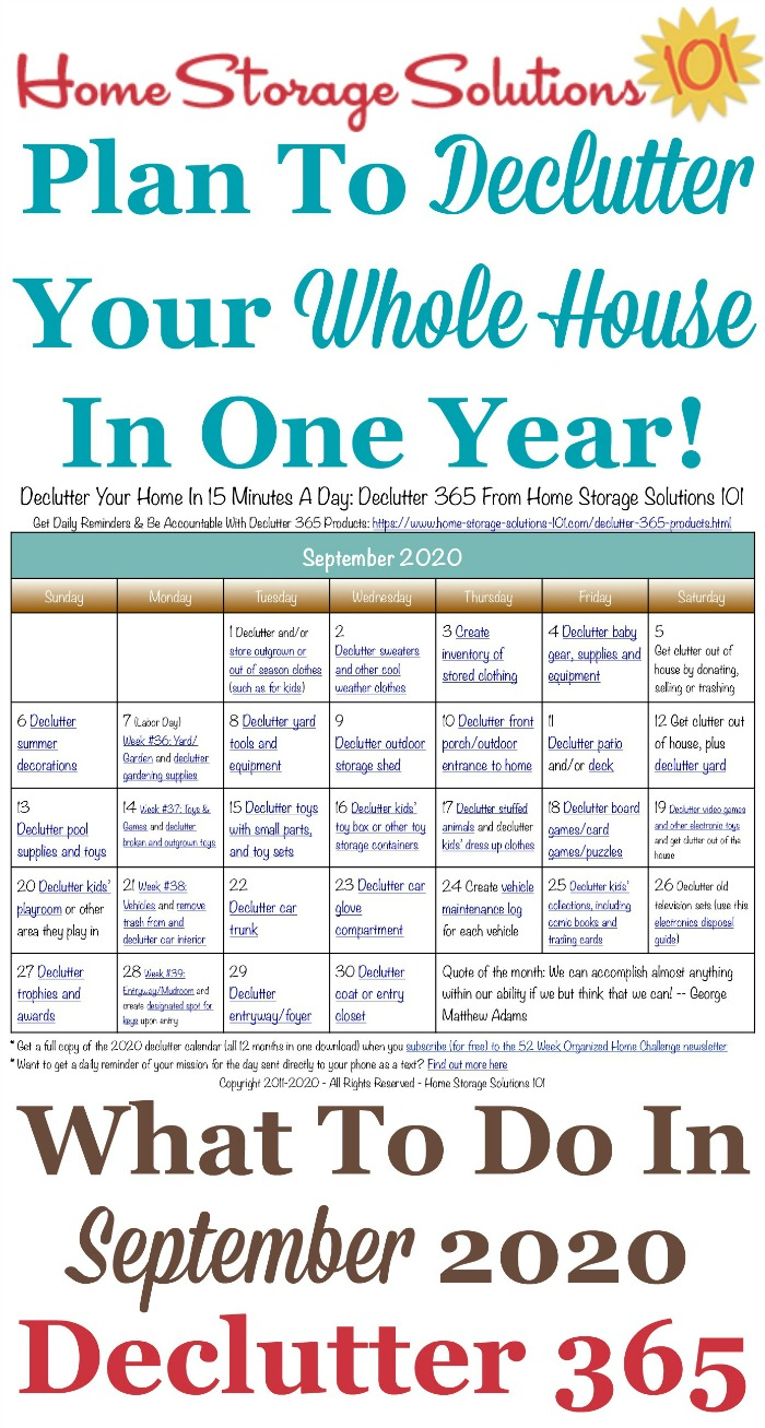 Free printable September 2020 #decluttering calendar with daily 15 minute missions. Follow the entire #Declutter365 plan provided by Home Storage Solutions 101 to #declutter your whole house in a year.