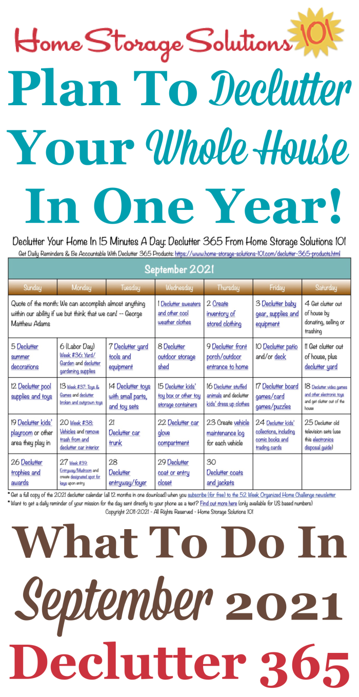 Free printable September 2021 #decluttering calendar with daily 15 minute missions. Follow the entire #Declutter365 plan provided by Home Storage Solutions 101 to #declutter your whole house in a year.