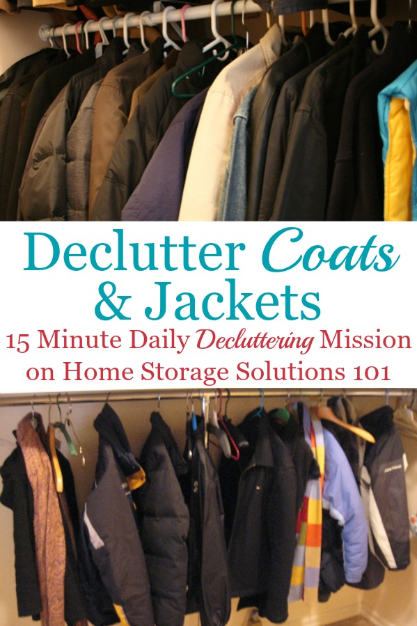 Here is how to declutter your wardrobe of coats and jackets that you don't need and are excess stuff, to get rid of your closet or drawer clutter {a #Declutter365 mission on Home Storage Solutions 101} #DeclutterCoats #DeclutterCloset