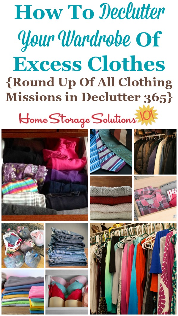 Here are all the #Declutter365 missions necessary to declutter your wardrobe of excess clothes from your closet and dresser drawers, for yourself and your kids {on Home Storage Solutions 101} #DeclutterClothes #DeclutterCloset