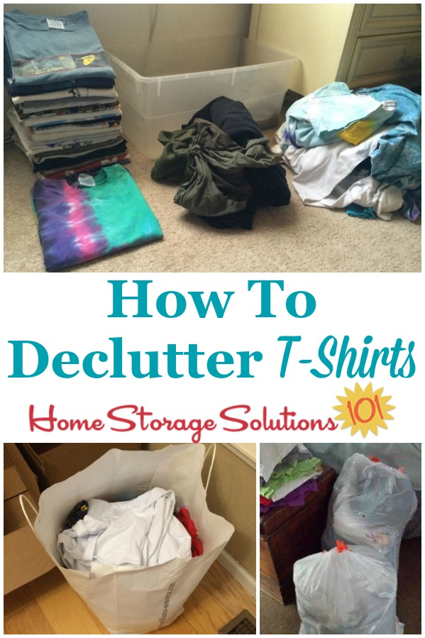 How to declutter t-shirts and other shirts and tops from your dresser drawers or closet, so that you have a more reasonable amount that you can wear and enjoy {a #Declutter365 mission on Home Storage Solutions 101} #DeclutterTShirts #DeclutterClothes