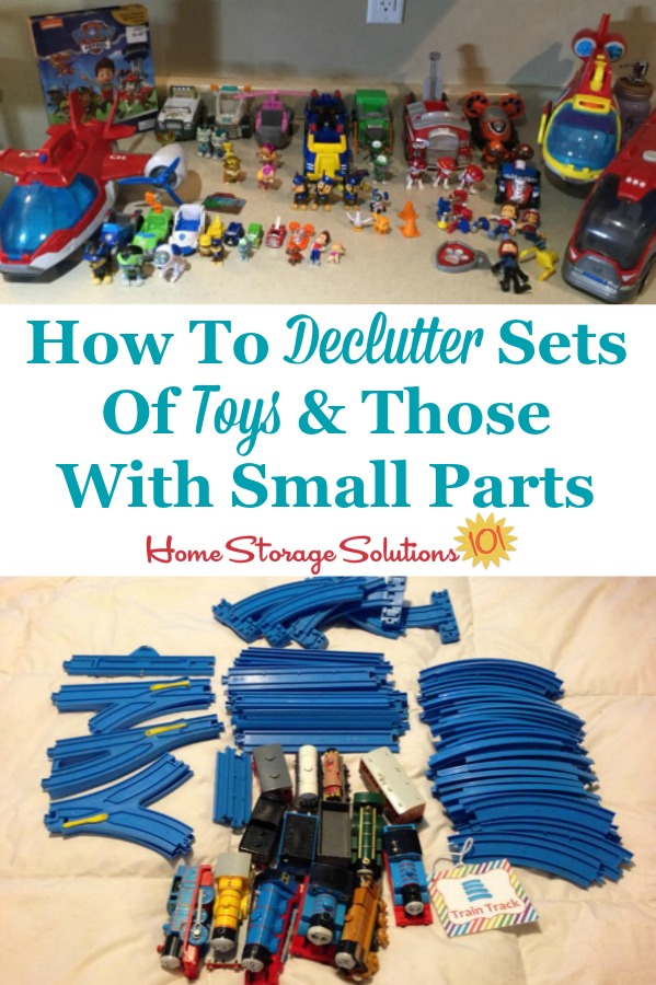 How to declutter sets of toys and those with small parts from your home {on Home Storage Solutions 101} #DeclutteringToys #DeclutterToys #ToyClutter