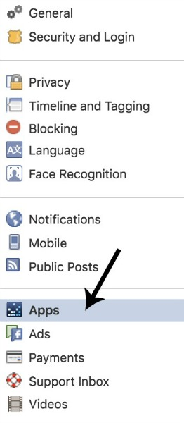 Step 2 of deleting Facebook apps: click on 'apps' once in your settings