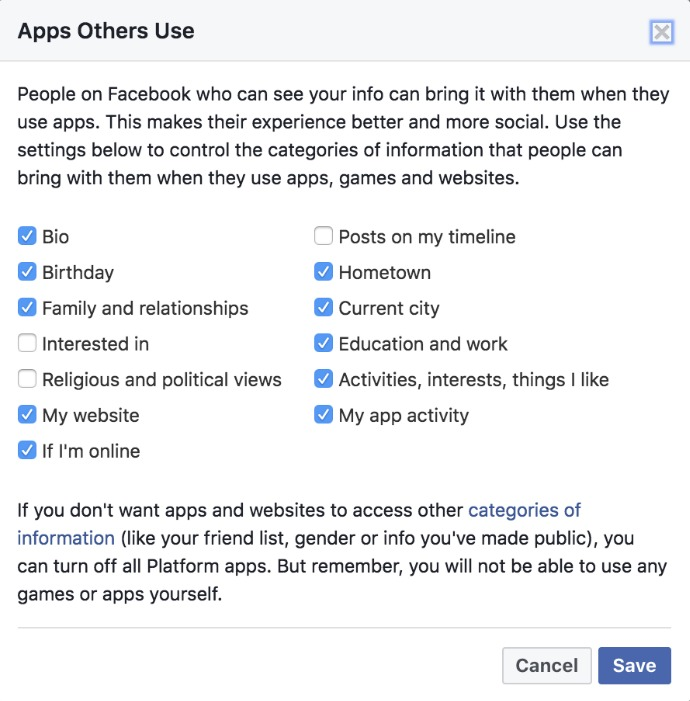 Step 5 of blocking Facebook apps of your friends that use your Facebook data: uncheck all the boxes that are checked, and press save