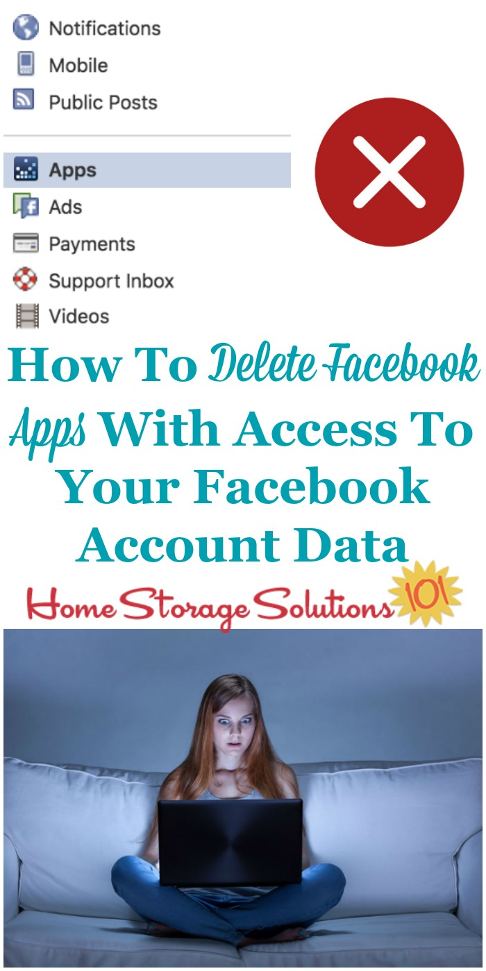 Simple step by step instructions for how to delete Facebook apps from third parties who currently have access to your Facebook data, that you don't want to have this access anymore {a digital #Declutter365 mission on Home Storage Solutions 101}