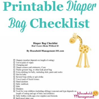 Printable diaper bag checklist