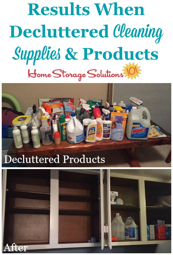 Results when a reader, Jen, did the #Declutter365 mission to get rid of old and excess cleaning supplies and products {featured on Home Storage Solutions 101}