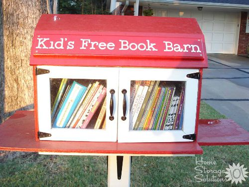 Use a Little Free Library to donate books, especially children's books, when #decluttering, to help someone else while also getting them out of your home. Plus 13 other places to donate used books {featured on #HomeStorageSolutions101} #DonateBooks
