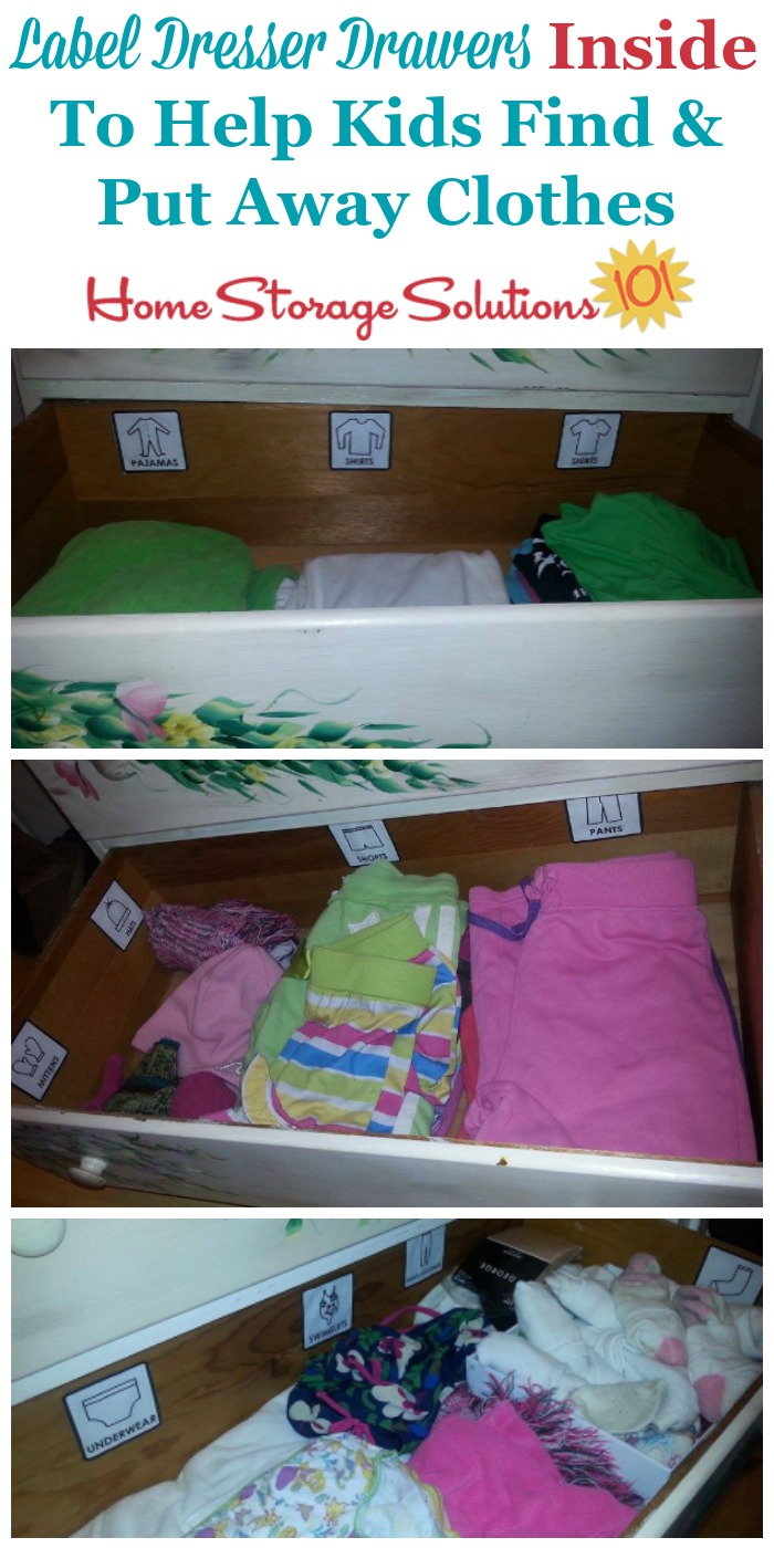 If you don't like the look of labels on the outside of a dresser you can still help kids and adults alike know where to put away and find various categories of clothing by using drawer labels inside the dresser or clothing drawers {on Home Storage Solutions 101}