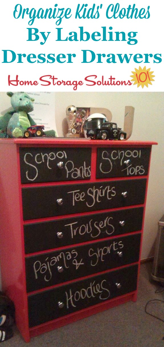 An easy way to organize kids' clothes is to label their dresser drawers so everyone knows what goes in what drawer {featured on Home Storage Solutions 101}