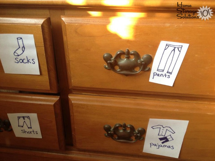 DIY hand-drawn picture dresser drawer labels for pre-schoolers to help organize clothing drawers {featured on Home Storage Solutions 101}