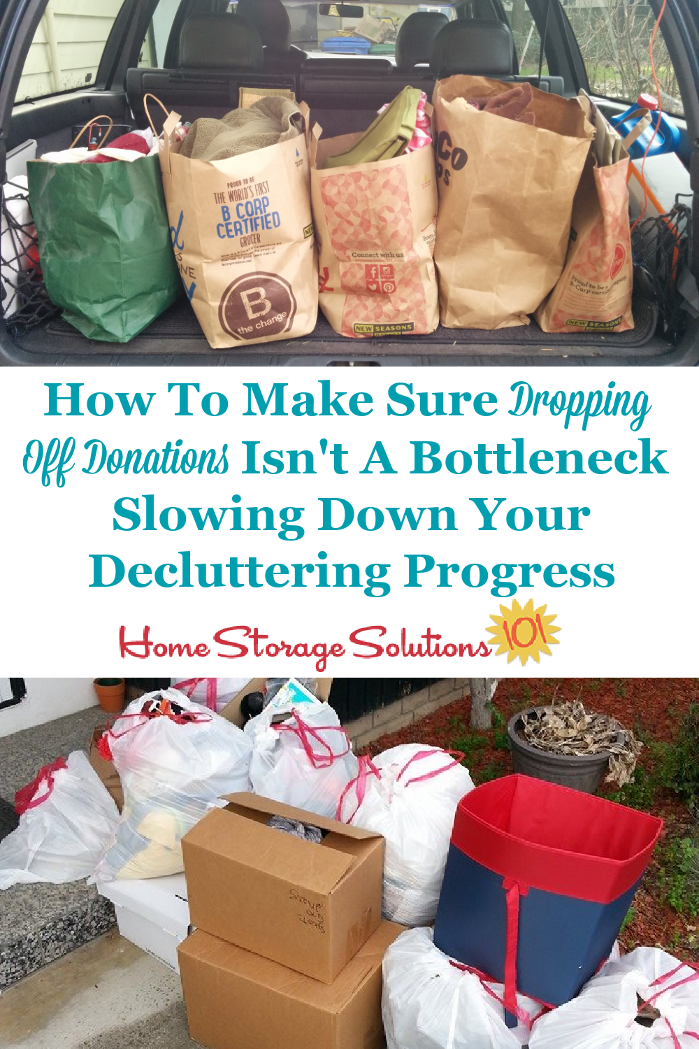 How to make sure dropping off donations isn't a bottleneck slowing down your decluttering progress {on Home Storage Solutions 101} #Declutter365 #DropOffDonations #DonateClutter