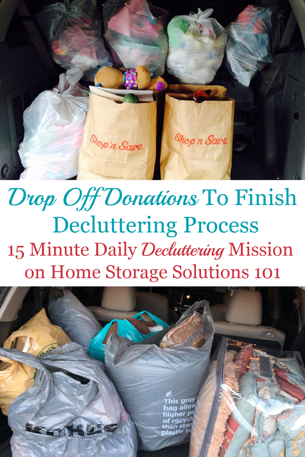 In this Declutter 365 mission I want you to drop off donations to a charity or donation center, to finish the task of decluttering items around your home that you've identified as clutter, and that you wish to give away to others {on Home Storage Solutions 101} #Declutter365 #DropOffDonations #DonateClutter