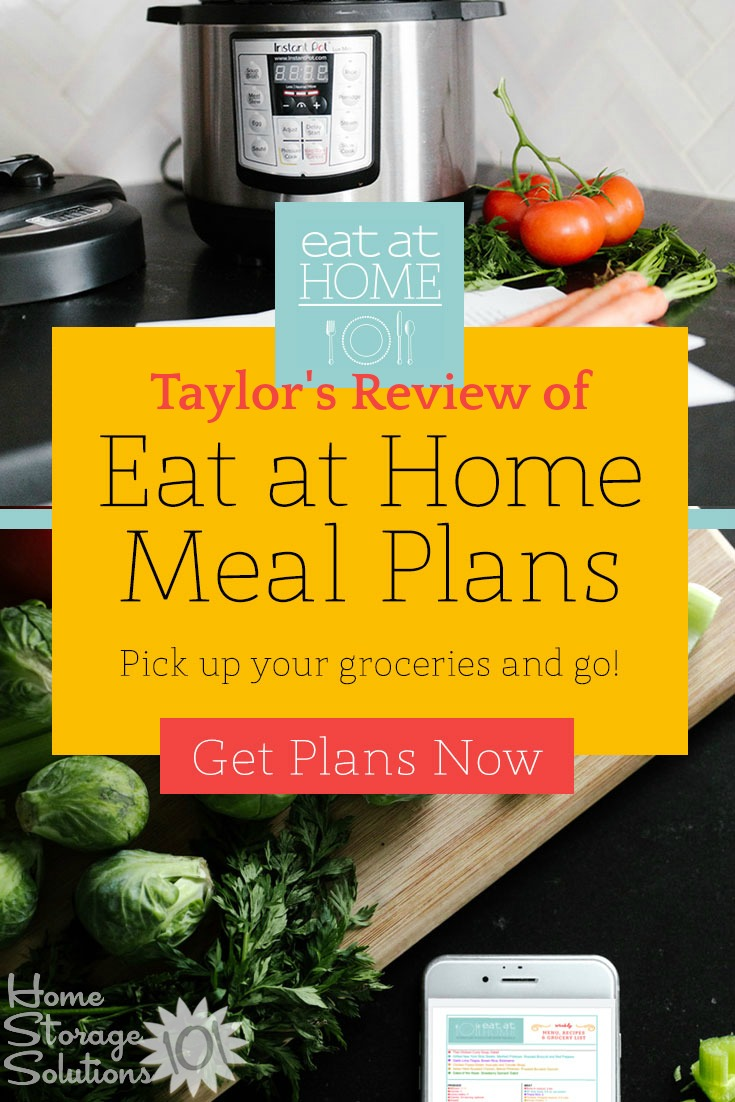 Here's Taylor's review of the Eat At Home monthly meal plans, to help you save time and money, while being able to eat meals as a family, at home, more often {on Home Storage Solutions 101} #EatAtHome #MealPlanning #MealPlans