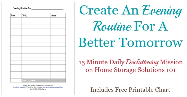 Here's how to create an evening routine for yourself that will set you up to have a better, smoother running tomorrow {includes free printable evening routine chart} {a #Declutter 365 mission on Home Storage Solutions 101}