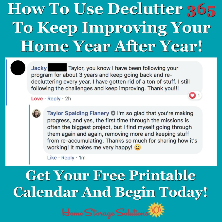 How to use Declutter 365 to keep improving your home year after year {on Home Storage Solutions 101} #Declutter365 #HowToDeclutter #DeclutteringTips