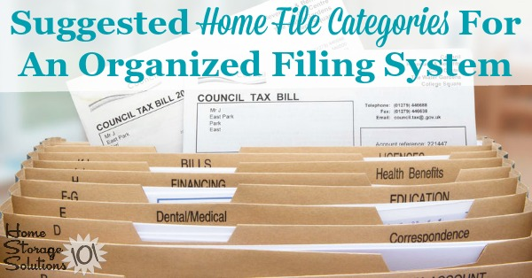 List of suggested home file categories for an organized filing system for your household {on Home Storage Solutions 101}