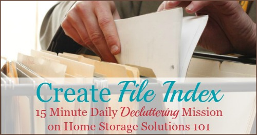 Create a file index so that your home filing system never has duplicate files ever again {15 minute #Declutter 365 mission on Home Storage Solutions 101}