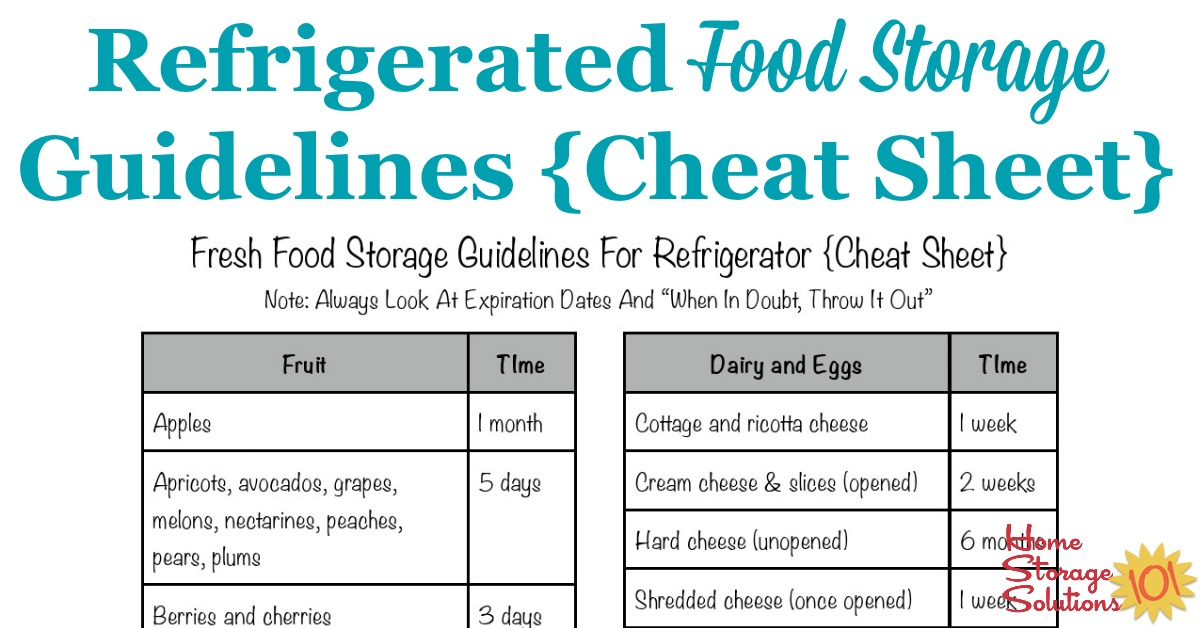 Printable refrigerated food storage guidelines cheat sheet, so you know what to keep versus toss from your refrigerator when you do a big clean out {courtesy of Home Storage Solutions 101}